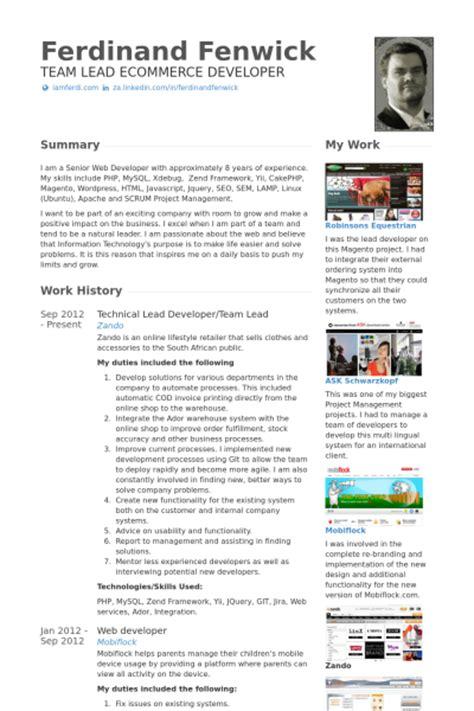 technical lead resume sles visualcv resume sles