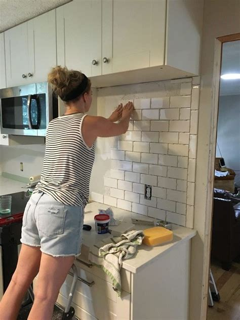 how to install a backsplash in the kitchen 2018 subway tile backsplash step by step tutorial part one in 2019 kitchen backsplash kitchen