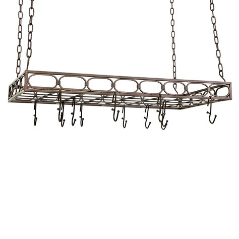 bronze rectangular pot rack with 16 hooks 105bz
