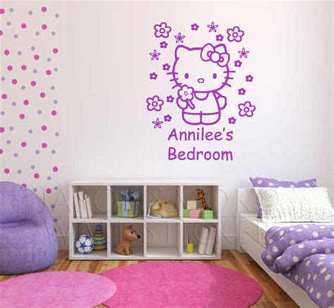 Walpaper Sticker Dinding Pink Hello 1 personalised custom name wallpaper hello wall sticker flowers bedroom decal for baby