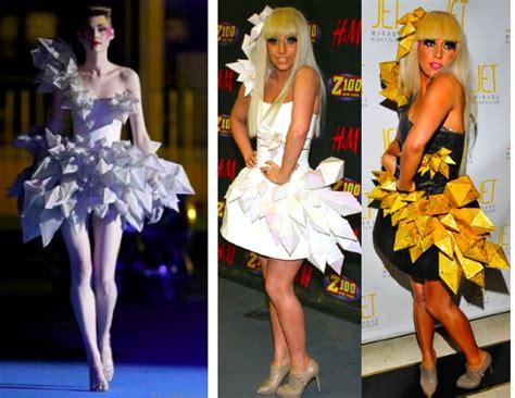Gaga Origami Dress - gaga s peculiar clothes reminds me of the capital s