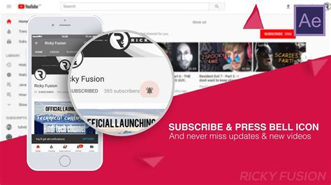Youtube Notification Bell Icon Intro 2018 Free Easy Tutorial After Effects Template Bell Icon Intro Template After Effects