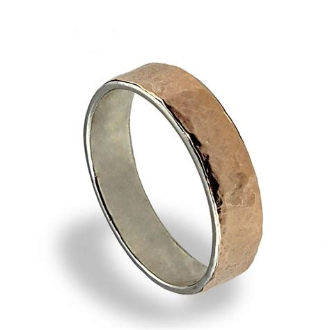14k gold wedding band hammered texture wedding ring