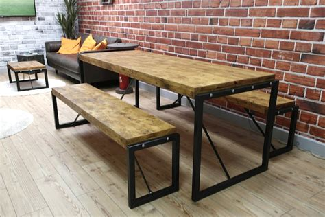 bench style dining sets industrial dining set with steel frames and reclaimed wood