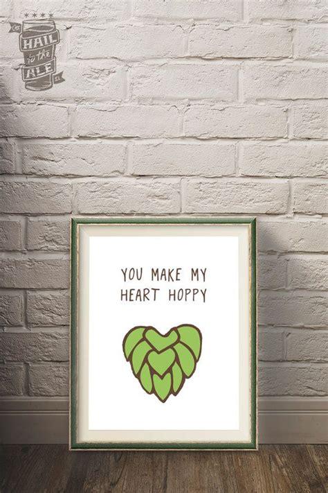 beer home decor happy heart beer poster craft beer beer art home decor