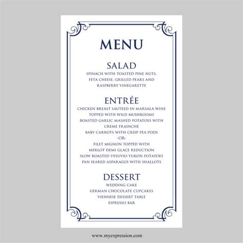 word menu templates menu template word