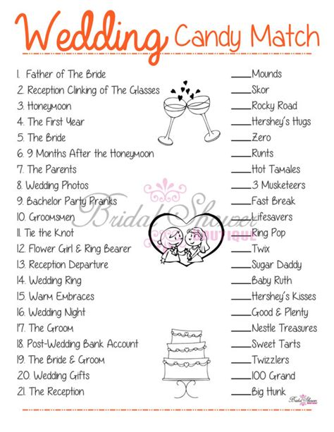 free printable bridal shower games how sweet it is wedding candy match bridal shower game orange fun detailed