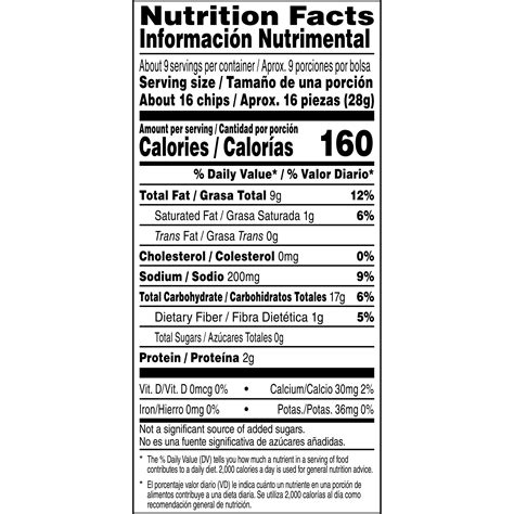Fritos Chips Nutrition Label Nutrition Ftempo Chip Label Template