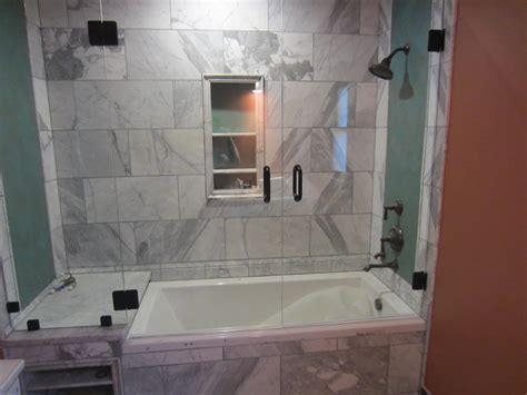 bathtub shower doors with mirror tub and shower frameless enclosure patriot glass and