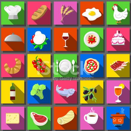 five square imagery twenty five square flat icon italian food stock vector