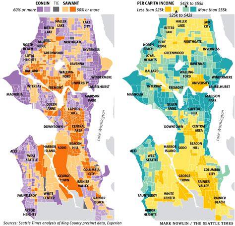 seattle income map who voted for socialist sawant income map has some