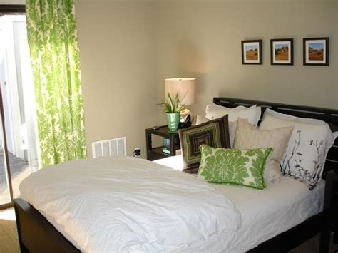green and brown bedroom walls damask drapes transitional bedroom apartment therapy