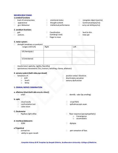history and physical template classical history and physical examination template