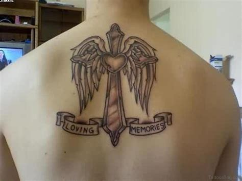 wings with a cross tattoo 80 stylish cross tattoos on back