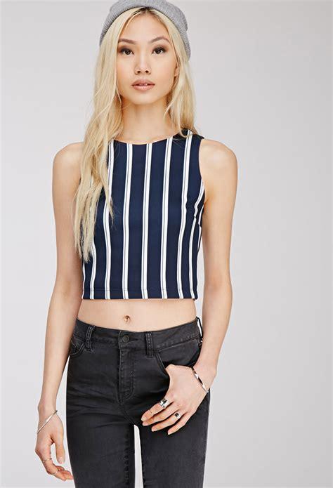 Zaskia Zipper Blazer forever 21 vertical striped crop top in blue lyst