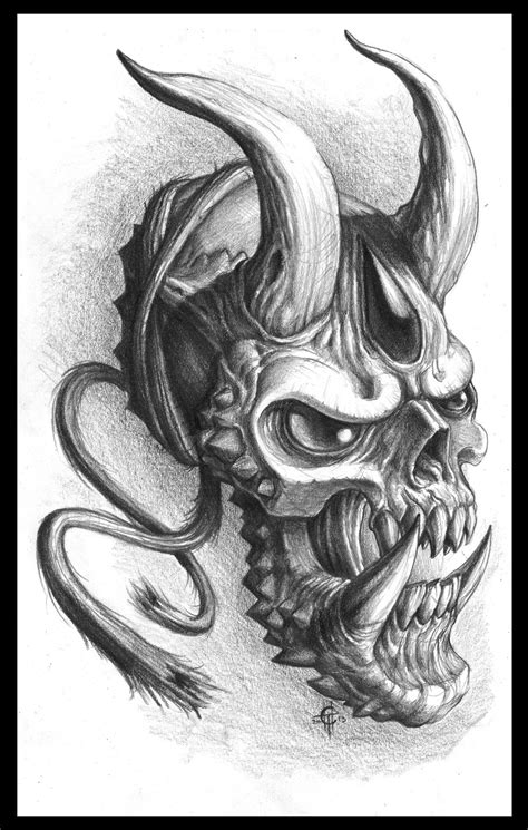 hannya mask and skull tattoo chaos hannya by chaostouched on deviantart