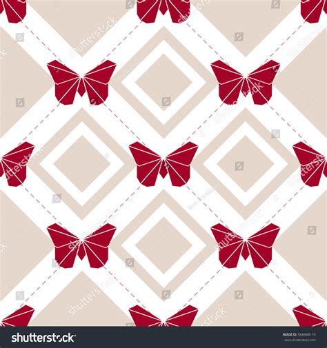 Origami Butterfly Pattern - seamless origami butterfly pattern background stock vector