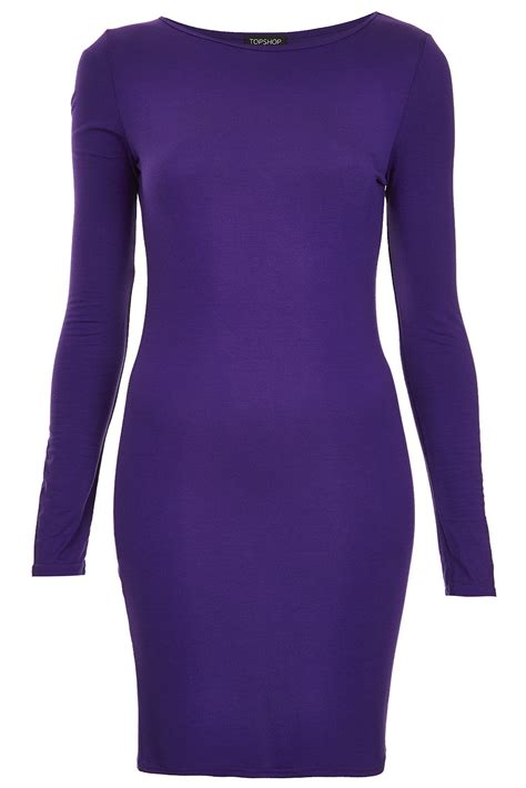 Dress Branded Ond Poplin Plain Purple topshop plain jersey bodycon dress in purple lyst