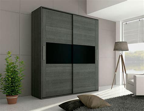 armario negro armario 2 puertas correderas en ceniza con negro 21536