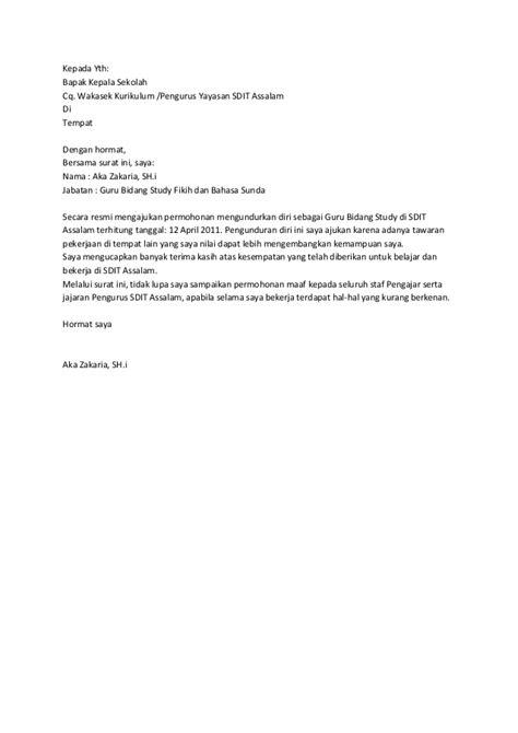 contoh surat pengunduran diri sebagai guru paud contoh o