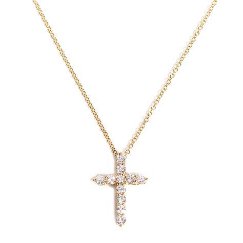 18 k white gold cross pendant leather backed large heavy men s tiffany co 18k yellow gold diamond small cross pendant
