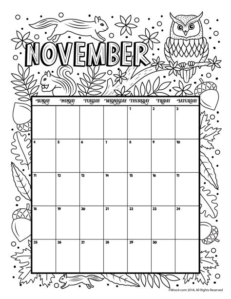 printable calendar 2018 to color november 2018 coloring calendar page woo jr kids