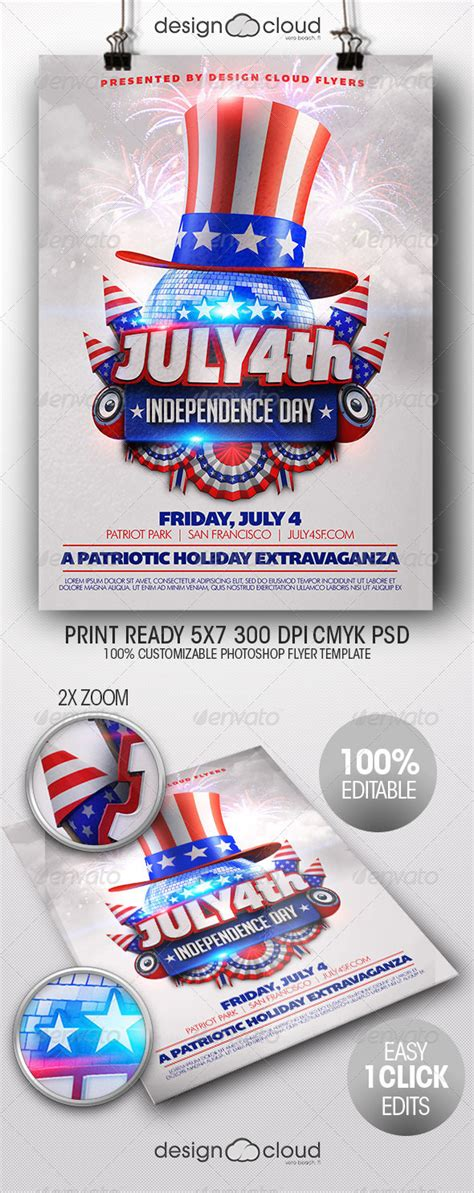 4th Of July Menu Template by July 4th Independence Day Flyer Template By Design Cloud
