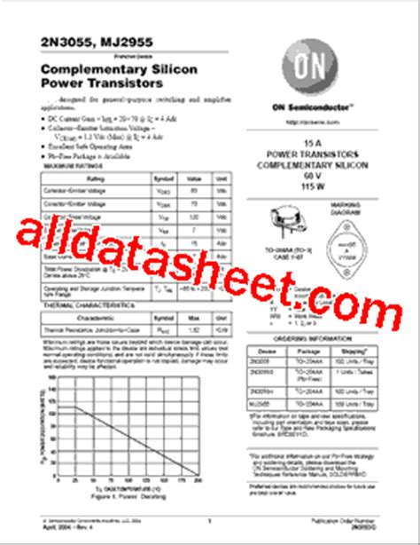 transistor datasheet 2n3055 2n3055 datasheet pdf on semiconductor