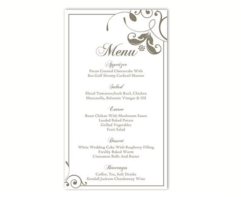 word document menu template wedding menu template diy menu card template editable text