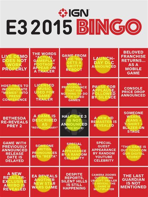 E3 Bingo Card Template by E3 Bingo So Far Electronic Entertainment Expo E3