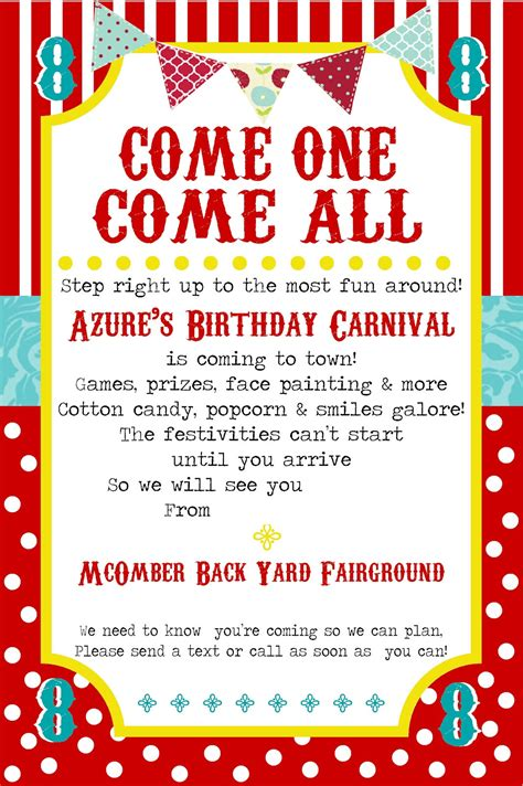 printable birthday invitations carnival theme free printable carnival party invitation template