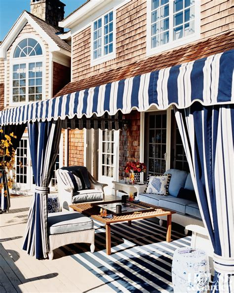 And White Striped Awning by The Pink Pagoda Blue And White Monday Outdoor Stripes