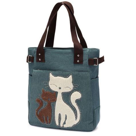 canvas shoulder bag with cat appliqu 233 plaza