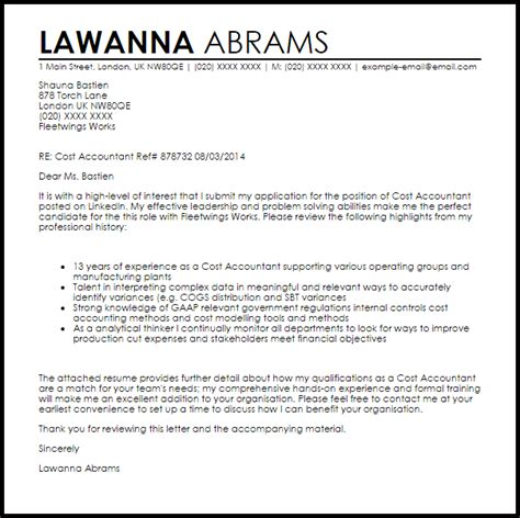 Cost Accountant Cover Letter Sample   LiveCareer