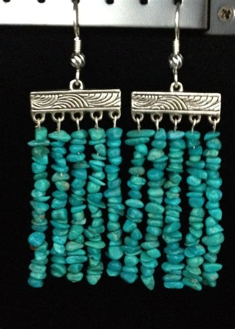 Turquoise Beaded Curtains Handmade Genuine Semi Precious Pebble Turquoise Bead Curtain Earrings With Tibetan Silver