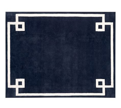 navy border rug hotel bordered rug navy pottery barn