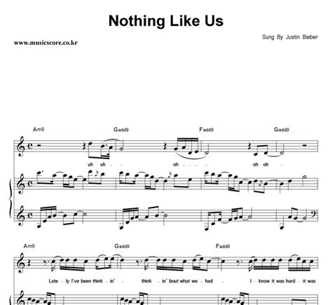 justin bieber nothing like us krafta justin bieber nothing like us 피아노 악보 뮤직스코어 악보가게