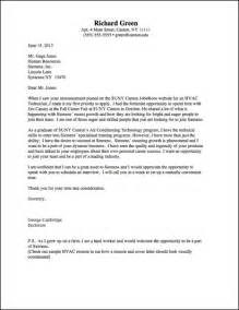 Hvac Cover Letter by Career Services Sle Cover Letters