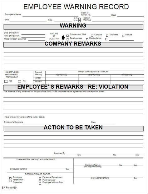 26 Employee Write Up Form Templates Free Word Employee Record Template
