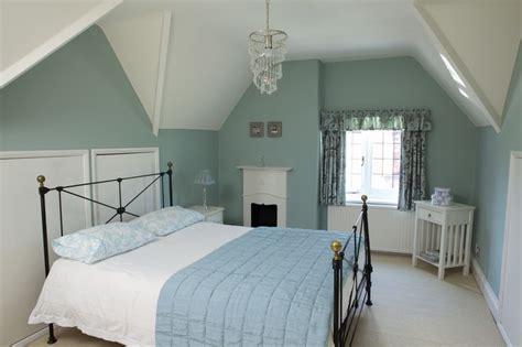 attic style bedroom  green blue interiors  color
