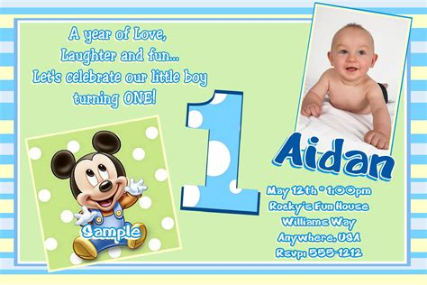 free birthday invitation templates for 1 year mickey mouse 1st birthday invitations