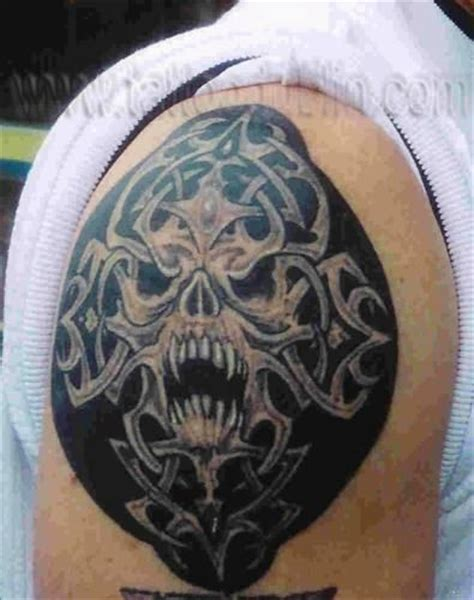 celtic tribal skull tattoo celtic tribal tattoo and arm