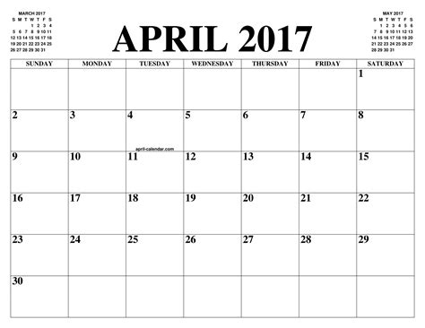 printable calendar agenda 2017 april 2017 2018 calendar of the month free printable