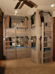 Not quite bunk beds but still a nice solution for tight sleeping