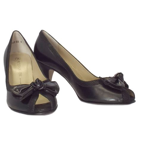 kaiser satyr peep toe evening shoes in black leather