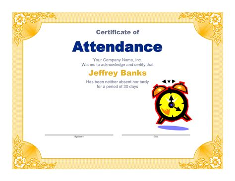 attendance award certificate templates awesome attendance certificate award template for