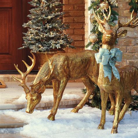 outdoor deer decorations feeding gold stag frontgate outdoor