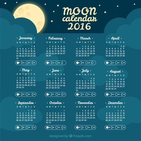 Moon Calendar Sky Moon Calendar 2016 Vector Free