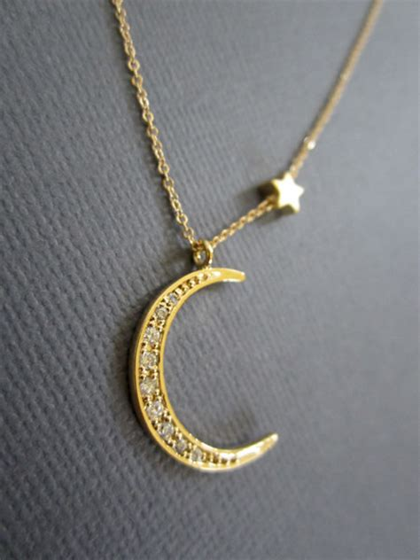 and crescent moon necklace gold moon necklace by