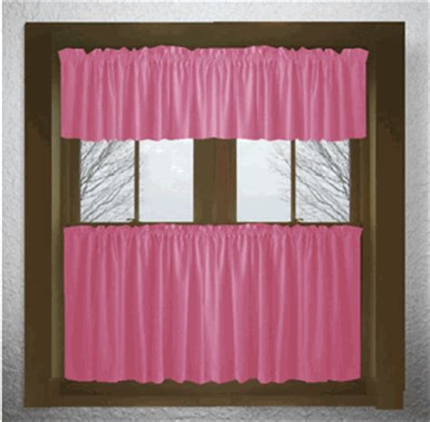 solid pink fuchsia kitchen tier cafe curtains